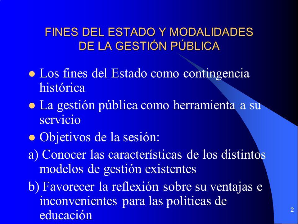 2 FINES DEL ESTADO Y MODALIDADES DE LA GESTIÓN PÚBLICA Los fines del Estado como contingencia histórica La gestión pública como herramienta a su servi