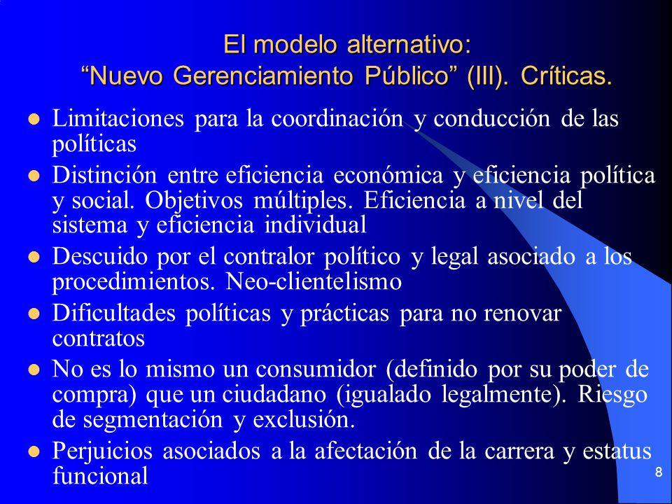 8 El modelo alternativo: Nuevo Gerenciamiento Público (III). Críticas. Limitaciones para la coordinación y conducción de las políticas Distinción entr