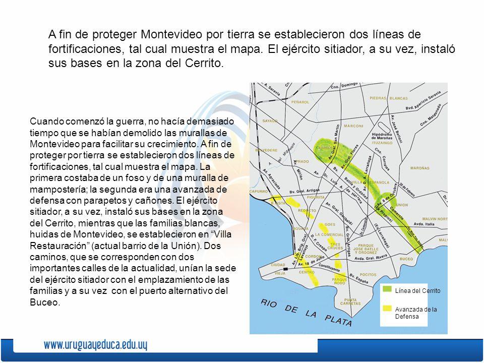 A fin de proteger Montevideo por tierra se establecieron dos líneas de fortificaciones, tal cual muestra el mapa.