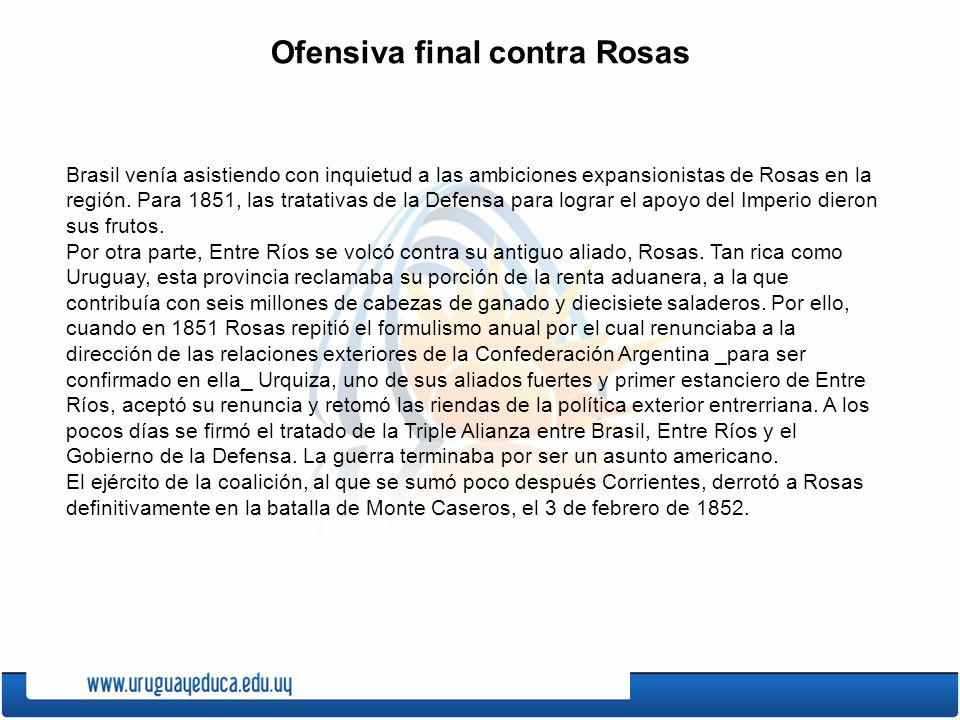 Ofensiva final contra Rosas Brasil venía asistiendo con inquietud a las ambiciones expansionistas de Rosas en la región.