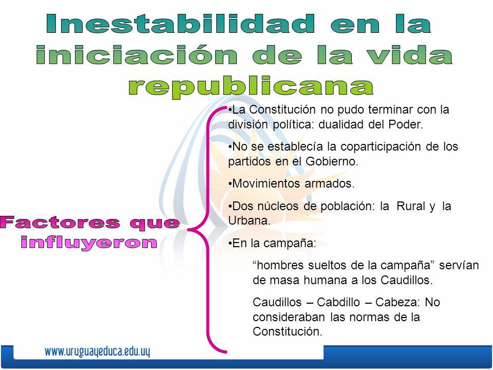 La Constitución no pudo terminar con la división política: dualidad del Poder.