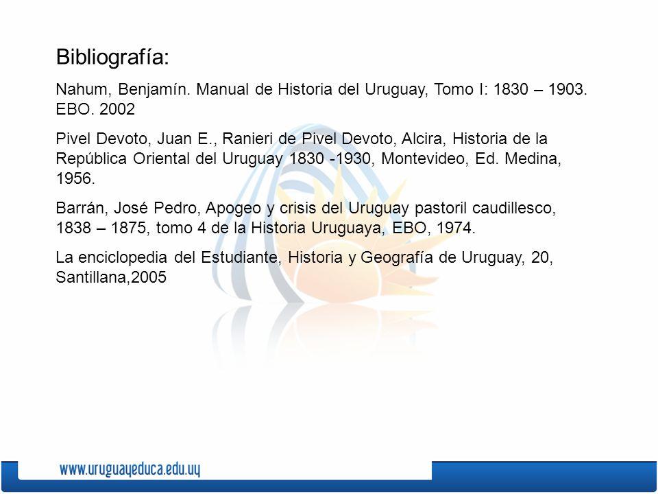 Bibliografía: Nahum, Benjamín.Manual de Historia del Uruguay, Tomo I: 1830 – 1903.