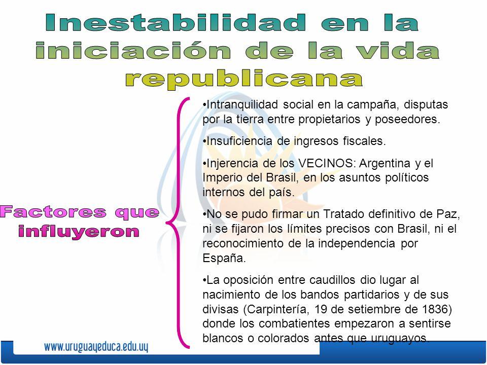 Intranquilidad social en la campaña, disputas por la tierra entre propietarios y poseedores.