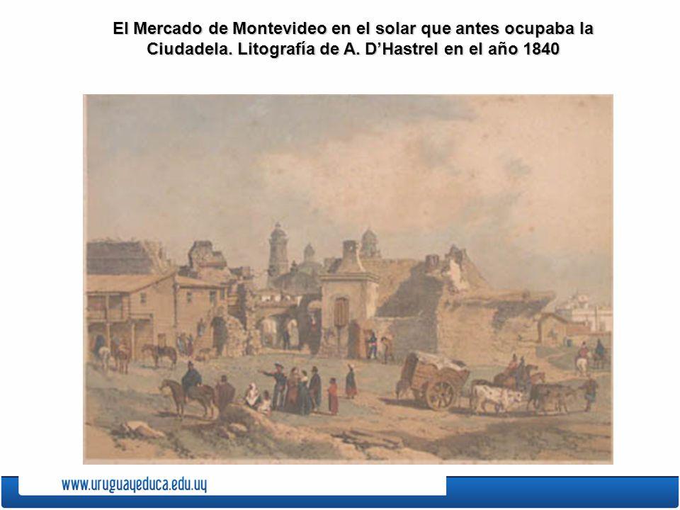El desembarcadero de Montevideo. Litografía de Lauvergne realizada en 1838