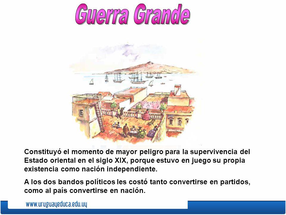 Blancos y colorados Para algunos historiadores, a partir de la Guerra Grande la campaña será identificada con los blancos y la ciudad con los colorados , cuando hasta ese momento el interior había sido el lugar del accionar de Rivera y la ciudad más el de Oribe.