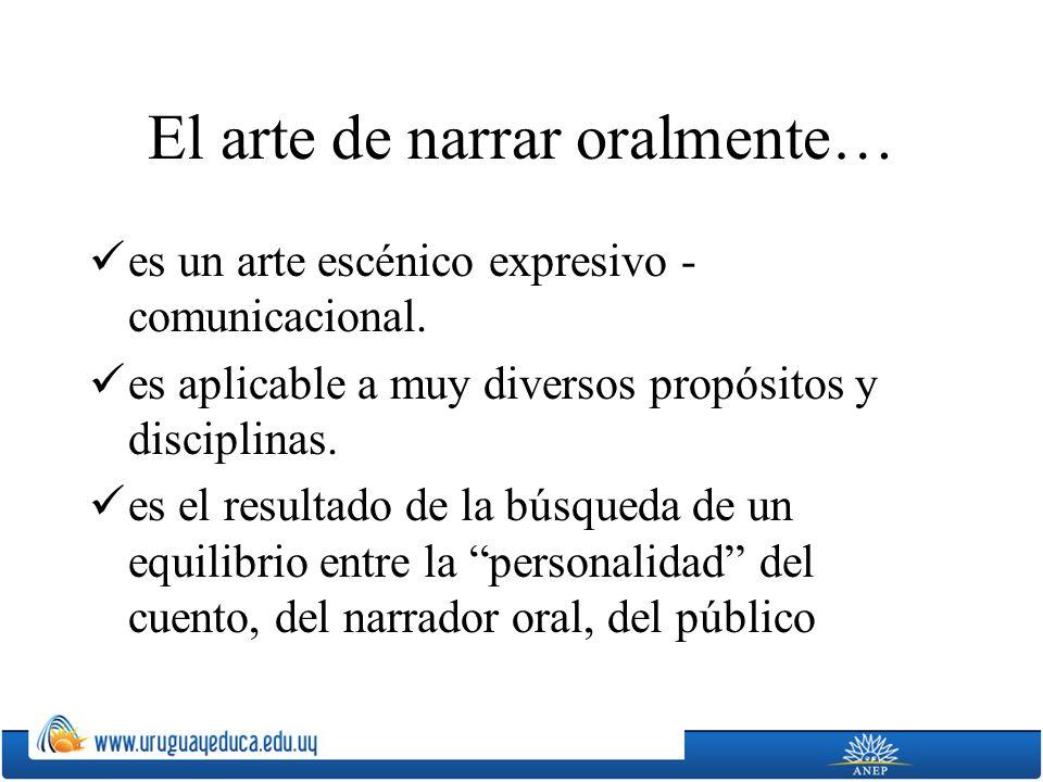 El arte de narrar oralmente… es un arte escénico expresivo - comunicacional.