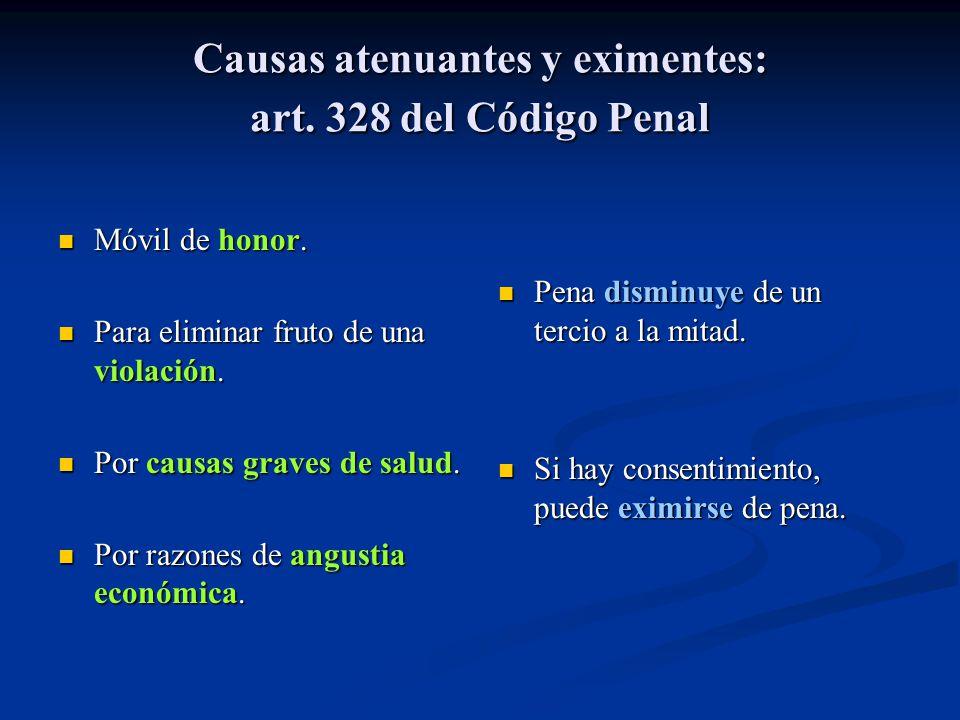Causas atenuantes y eximentes: art. 328 del Código Penal Móvil de honor. Para eliminar fruto de una violación. Por causas graves de salud. Por razones
