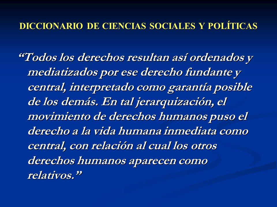 DICCIONARIO DE CIENCIAS SOCIALES Y POLÍTICAS Todos los derechos resultan así ordenados y mediatizados por ese derecho fundante y central, interpretado