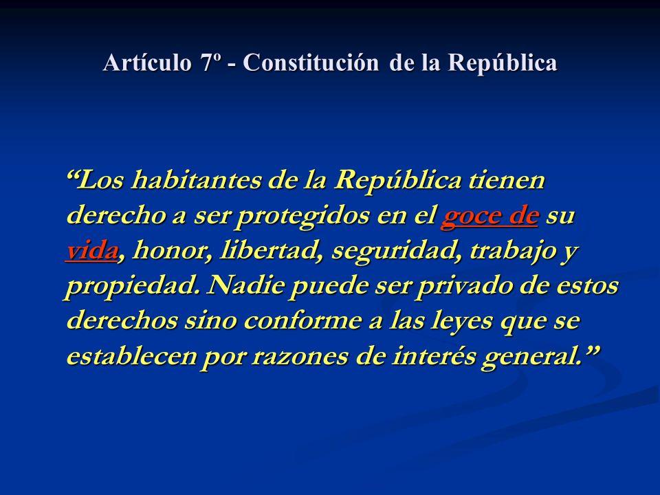 Artículo 7º - Constitución de la República Los habitantes de la República tienen derecho a ser protegidos en el goce de su vida, honor, libertad, segu