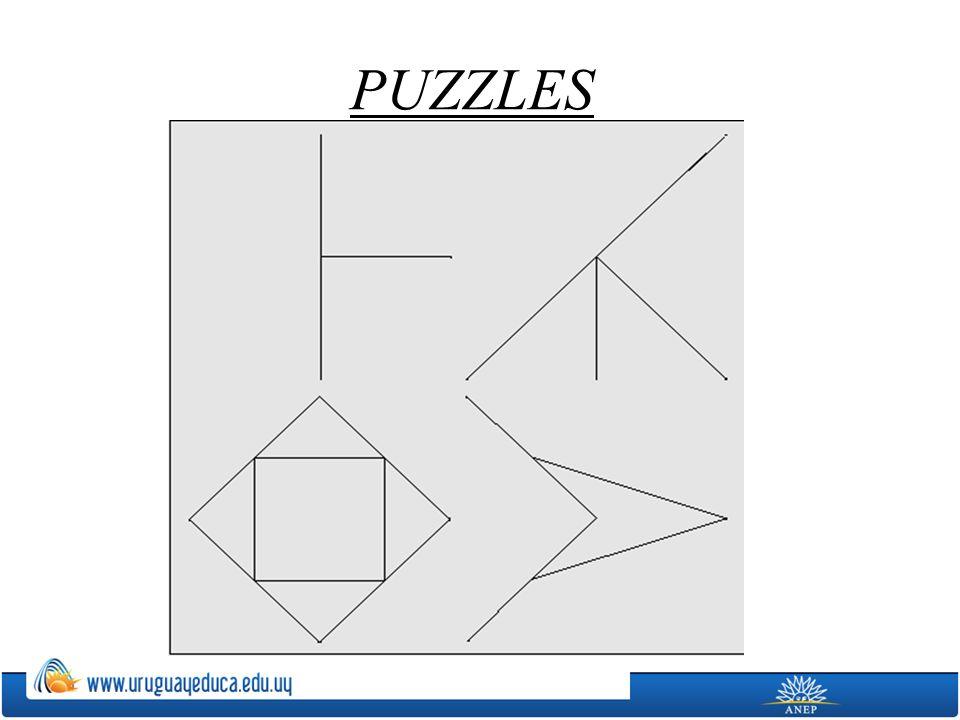 Actividades Recortar puzzles tipo tangram, graduando la dificultad de los mismos, y volverlos a armar pegándolos sobre una hoja.