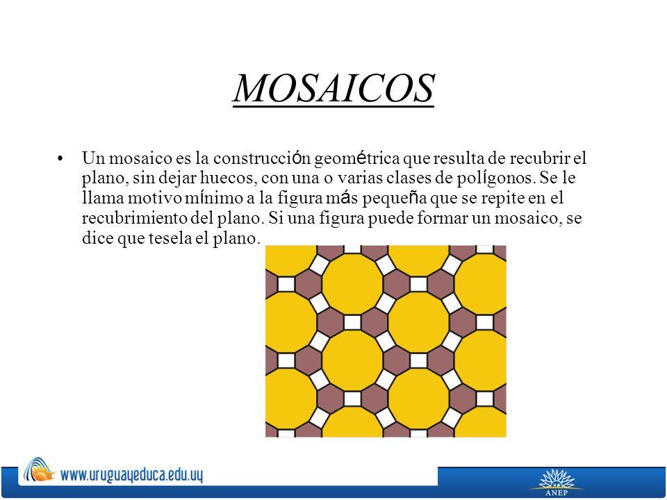 MOSAICOS Un mosaico es la construcci ó n geom é trica que resulta de recubrir el plano, sin dejar huecos, con una o varias clases de pol í gonos. Se l
