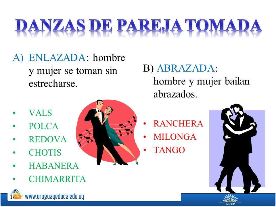 A)ENLAZADA: hombre y mujer se toman sin estrecharse.