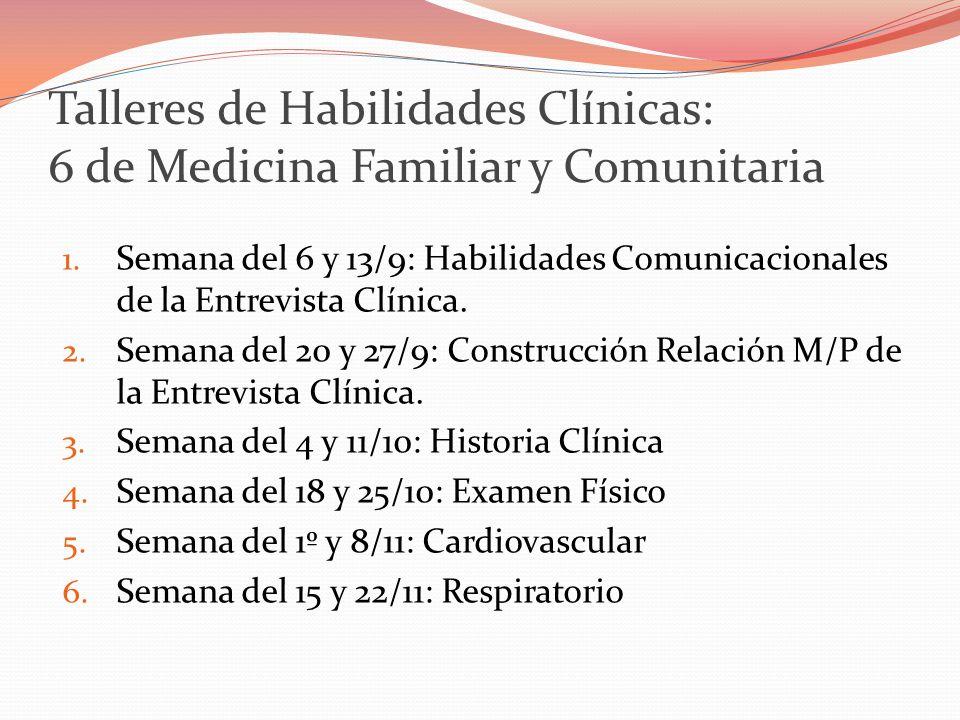 Talleres de Habilidades Clínicas: 6 de Medicina Familiar y Comunitaria 1.