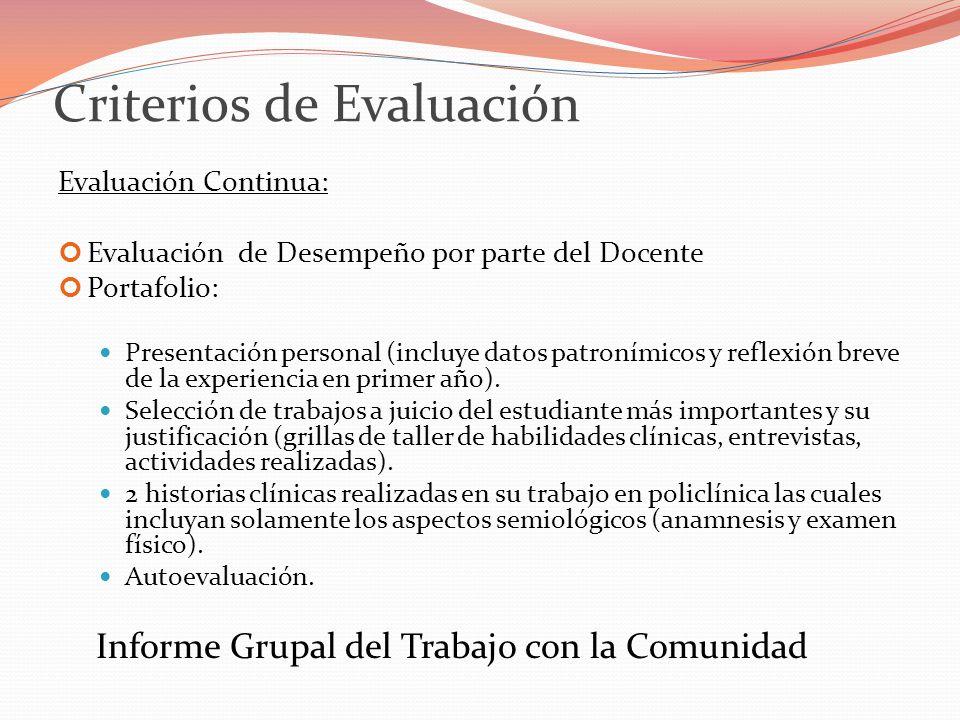 Criterios de Evaluación Evaluación Continua: Evaluación de Desempeño por parte del Docente Portafolio: Presentación personal (incluye datos patronímicos y reflexión breve de la experiencia en primer año).