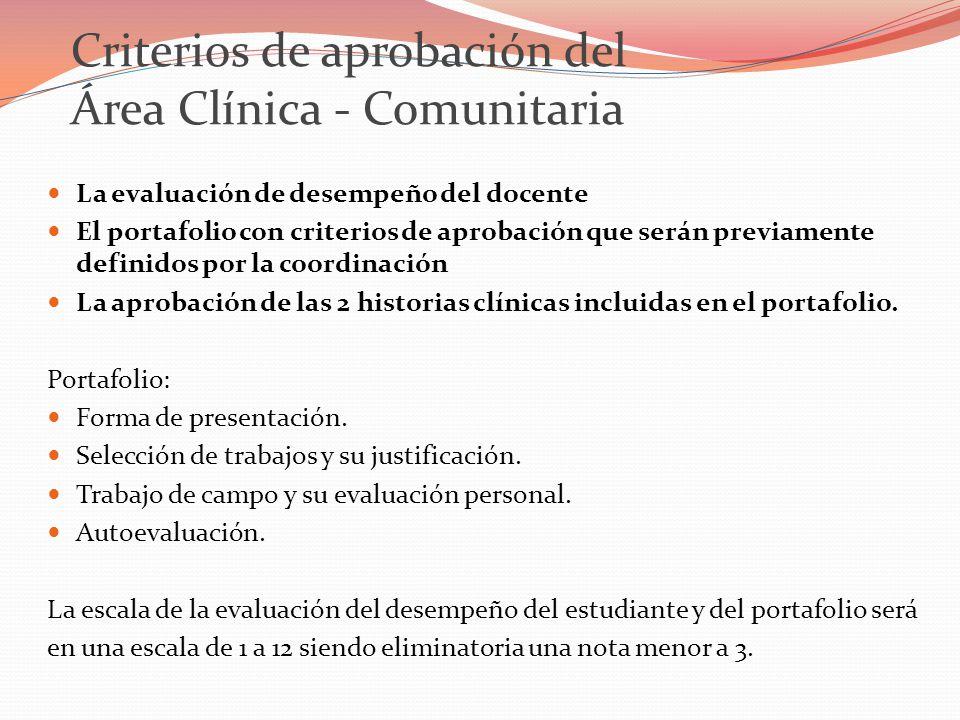 Criterios de aprobación del Área Clínica - Comunitaria La evaluación de desempeño del docente El portafolio con criterios de aprobación que serán previamente definidos por la coordinación La aprobación de las 2 historias clínicas incluidas en el portafolio.