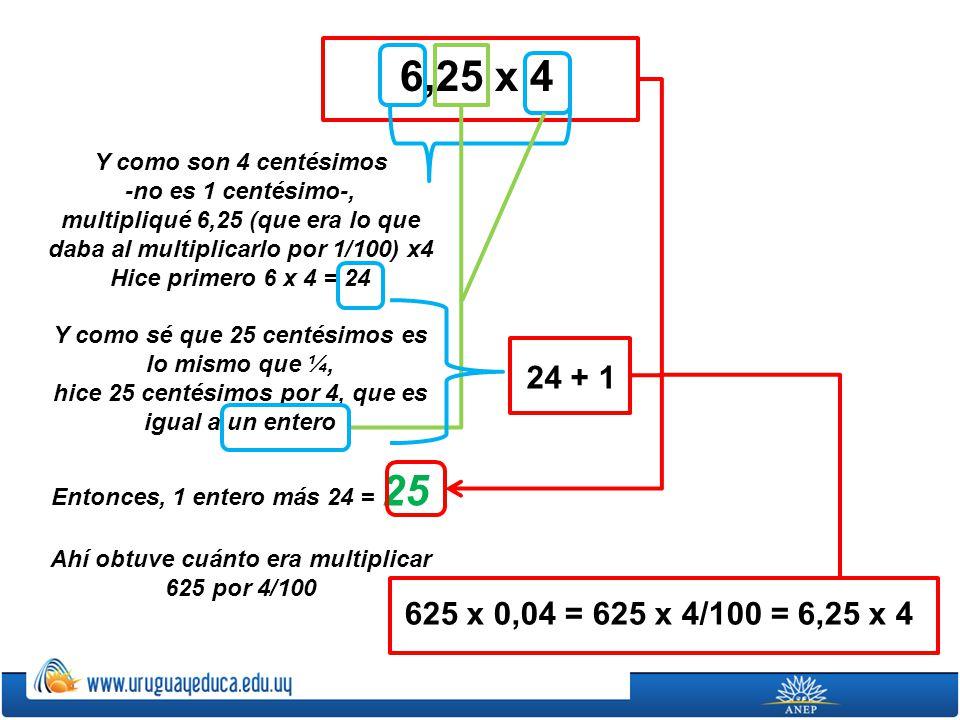 Y como son 4 centésimos -no es 1 centésimo-, multipliqué 6,25 (que era lo que daba al multiplicarlo por 1/100) x4 Hice primero 6 x 4 = 24 Y como sé qu