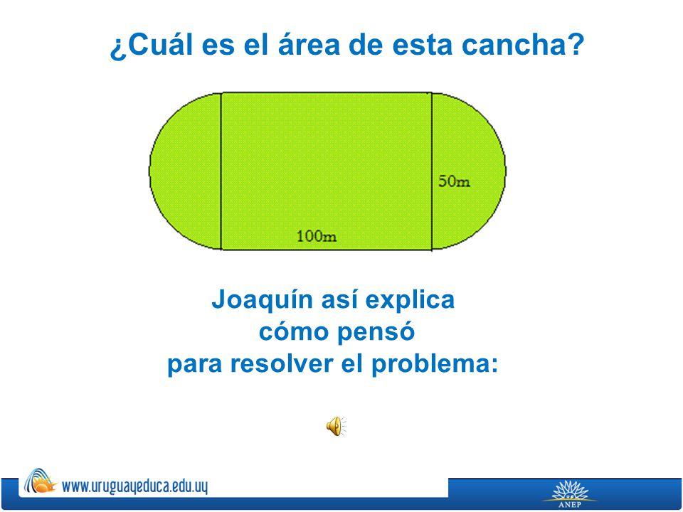 ¿Cuál es el área de esta cancha? Joaquín así explica cómo pensó para resolver el problema: