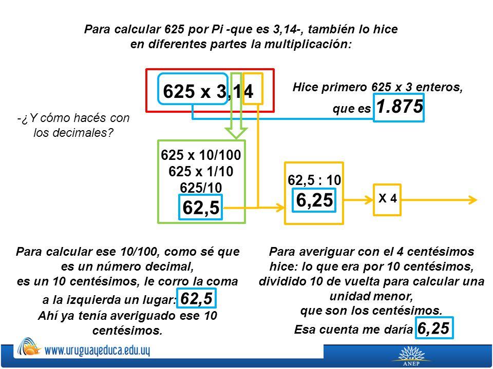 Para calcular 625 por Pi -que es 3,14-, también lo hice en diferentes partes la multiplicación: Hice primero 625 x 3 enteros, que es 1.875 625 x 3,14
