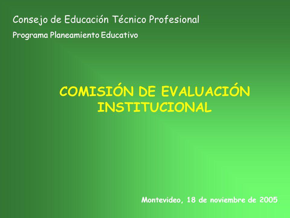 COMISIÓN DE EVALUACIÓN INSTITUCIONAL Consejo de Educación Técnico Profesional Programa Planeamiento Educativo Montevideo, 18 de noviembre de 2005