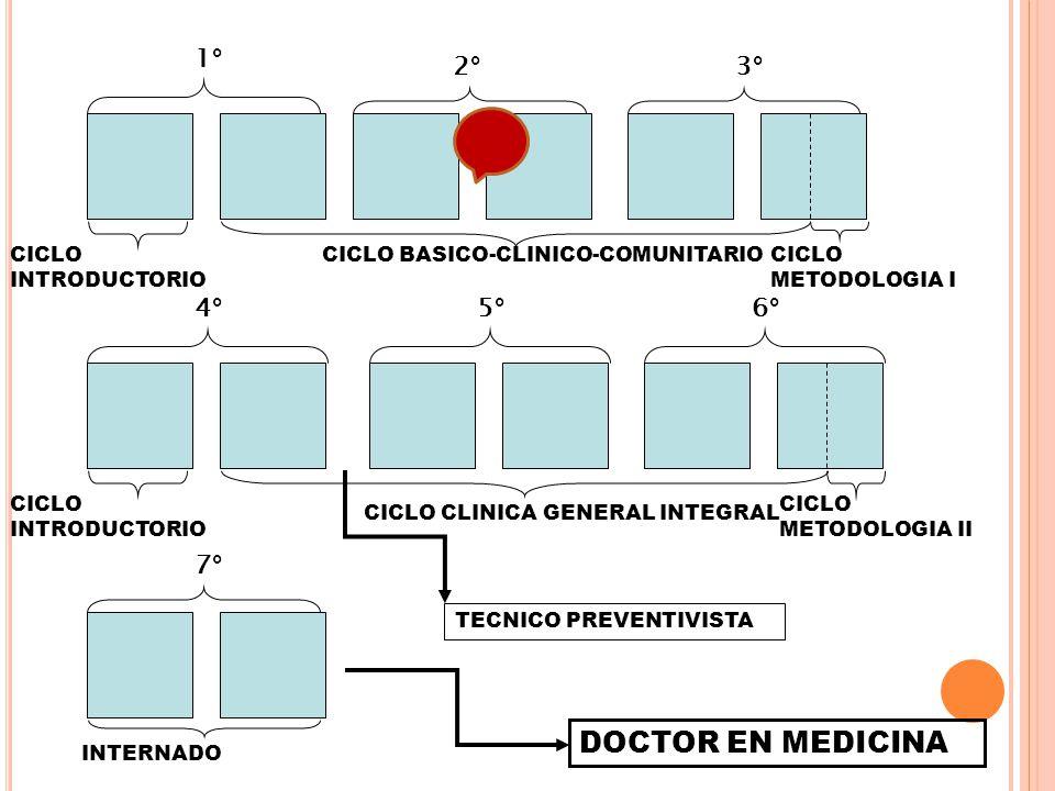 1° 2°3° 4°5°6° 7° CICLO BASICO-CLINICO-COMUNITARIOCICLO INTRODUCTORIO CICLO CLINICA GENERAL INTEGRAL INTERNADO TECNICO PREVENTIVISTA DOCTOR EN MEDICIN