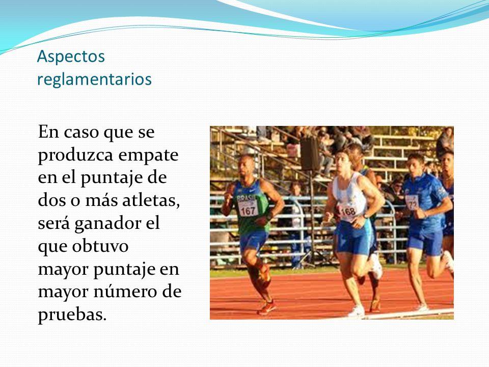 Aspectos reglamentarios En caso que se produzca empate en el puntaje de dos o más atletas, será ganador el que obtuvo mayor puntaje en mayor número de