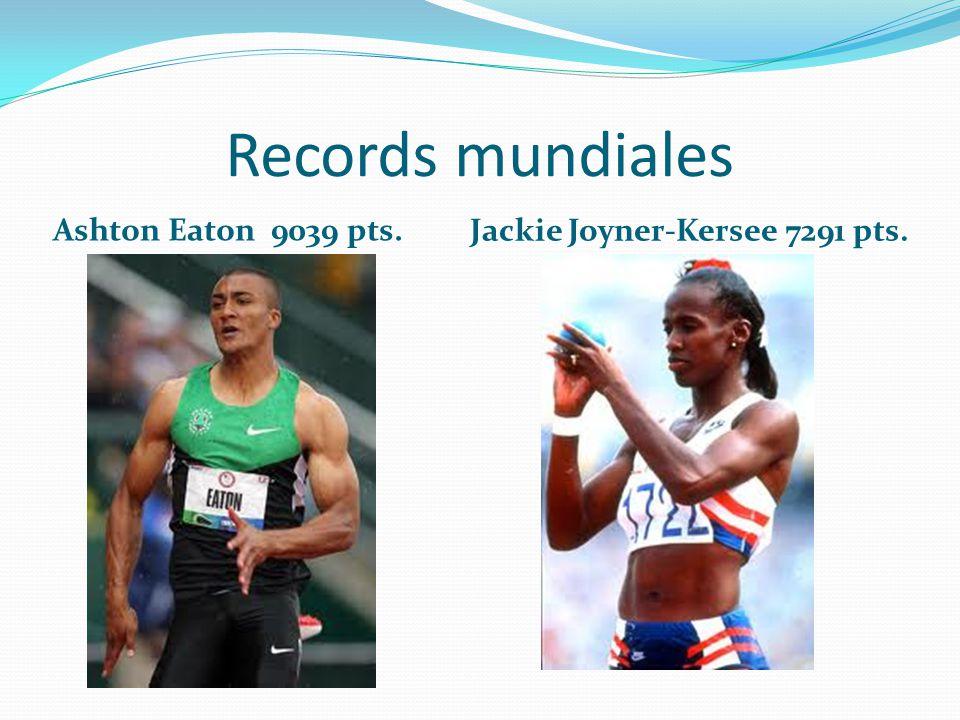 Records mundiales Ashton Eaton 9039 pts. Jackie Joyner-Kersee 7291 pts.