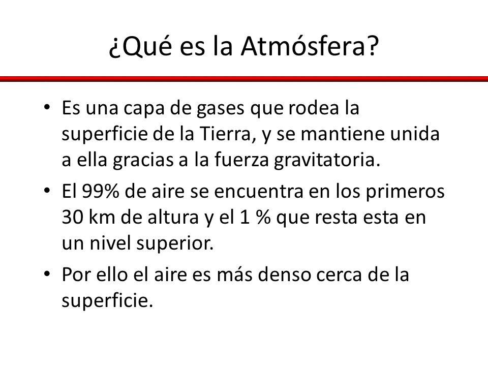 ¿Qué es la Atmósfera? Es una capa de gases que rodea la superficie de la Tierra, y se mantiene unida a ella gracias a la fuerza gravitatoria. El 99% d