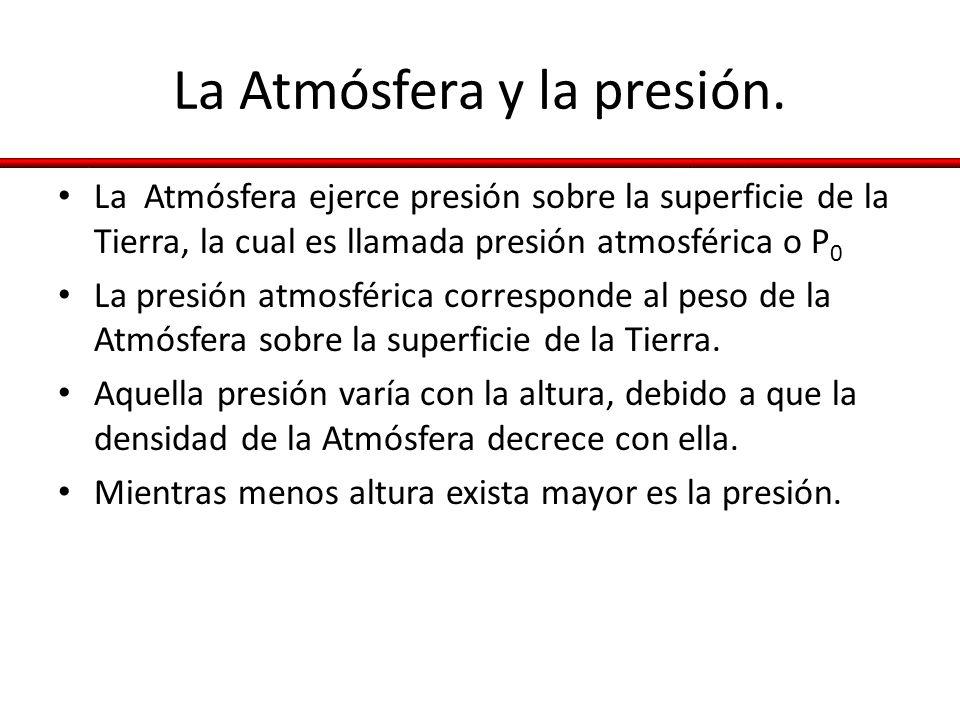 La Atmósfera y la presión. La Atmósfera ejerce presión sobre la superficie de la Tierra, la cual es llamada presión atmosférica o P 0 La presión atmos