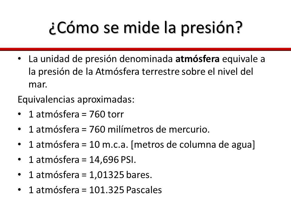 ¿Cómo se mide la presión? La unidad de presión denominada atmósfera equivale a la presión de la Atmósfera terrestre sobre el nivel del mar. Equivalenc