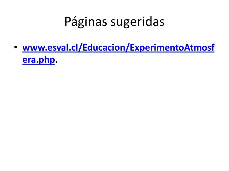 Páginas sugeridas www.esval.cl/Educacion/ExperimentoAtmosf era.php. www.esval.cl/Educacion/ExperimentoAtmosf era.php