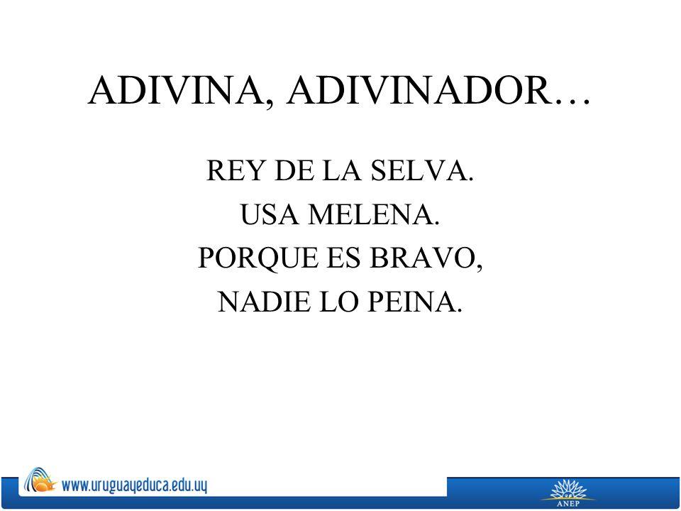 ADIVINA, ADIVINADOR… REY DE LA SELVA. USA MELENA. PORQUE ES BRAVO, NADIE LO PEINA.