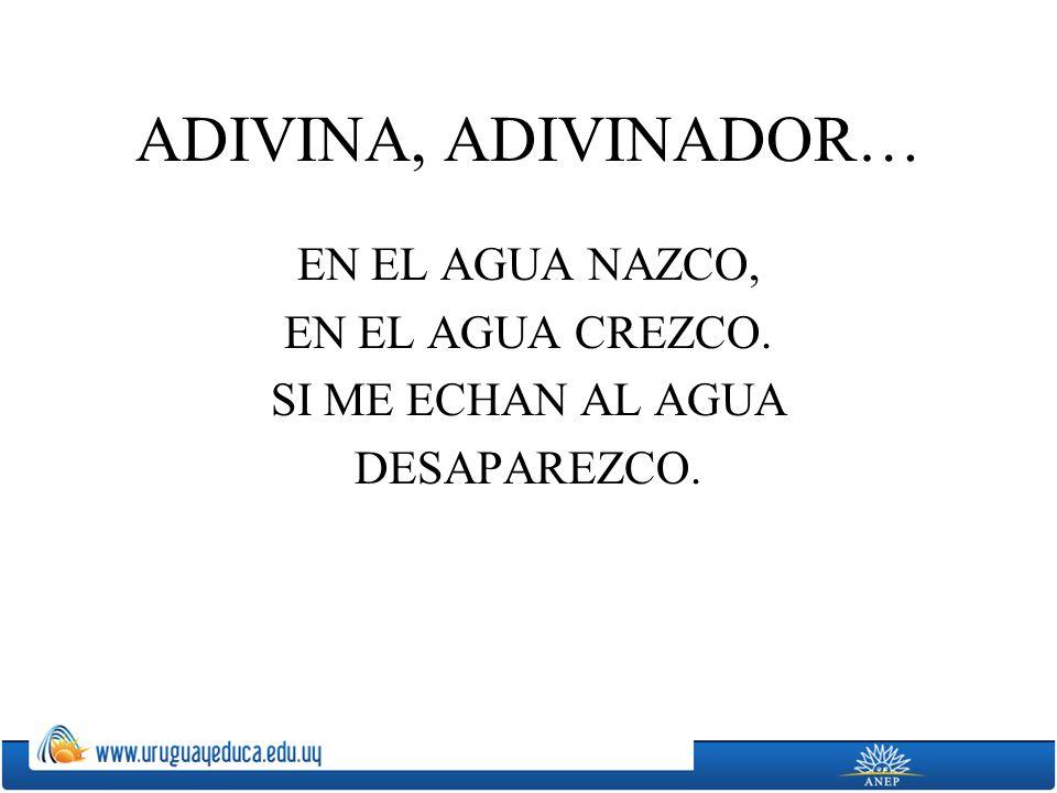 ADIVINA, ADIVINADOR… EN EL AGUA NAZCO, EN EL AGUA CREZCO. SI ME ECHAN AL AGUA DESAPAREZCO.