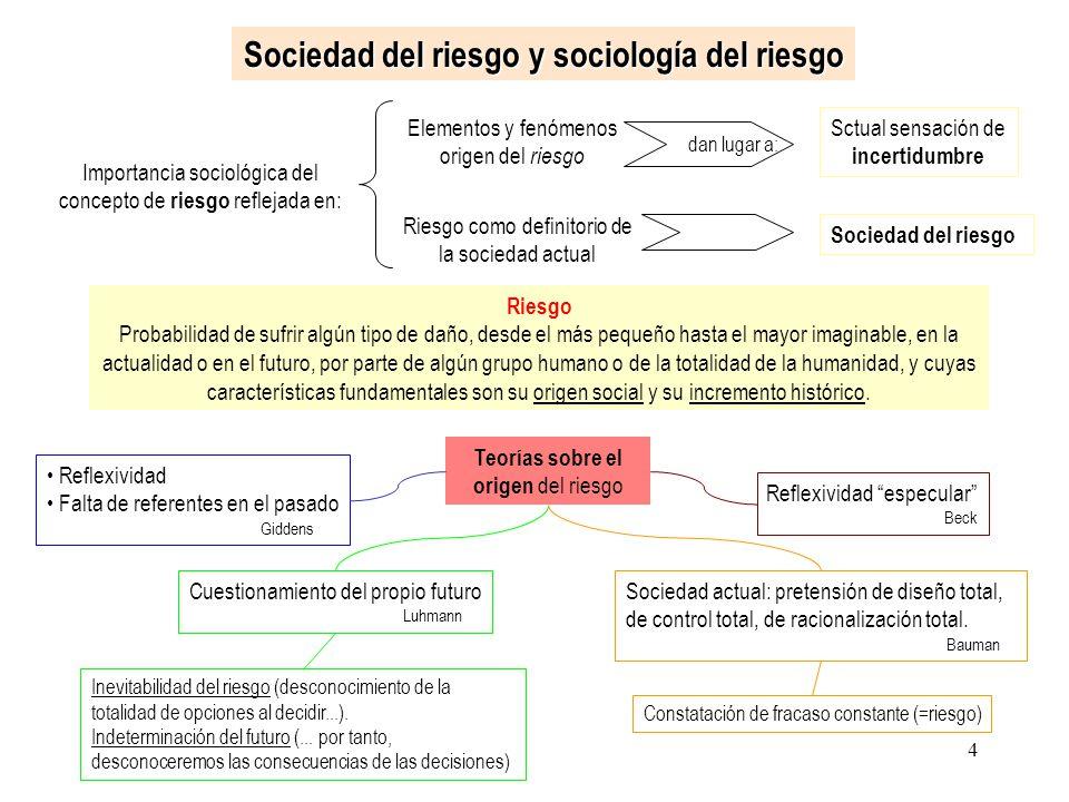 4 Sociedad del riesgo y sociología del riesgo Importancia sociológica del concepto de riesgo reflejada en: Elementos y fenómenos origen del riesgo dan