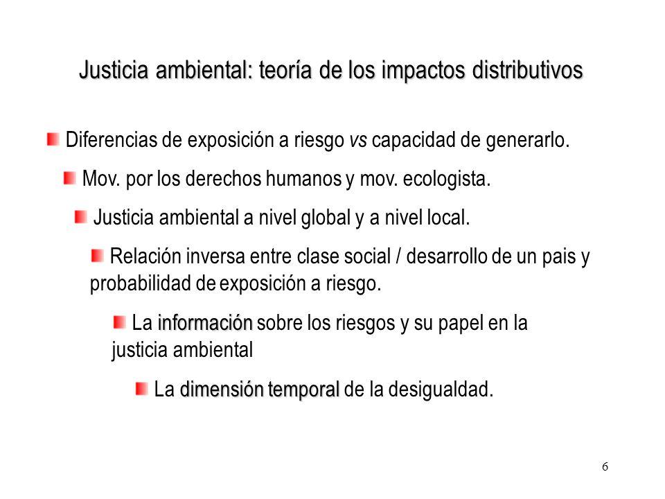 6 Justicia ambiental: teoría de los impactos distributivos Diferencias de exposición a riesgo vs capacidad de generarlo. Mov. por los derechos humanos