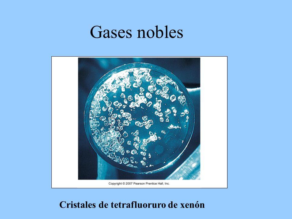 Gases nobles Cristales de tetrafluoruro de xenón