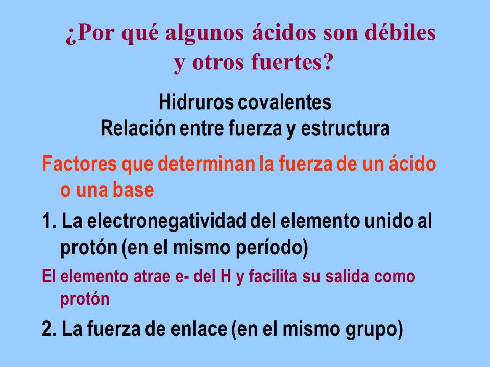 Hidruros covalentes Relación entre fuerza y estructura Factores que determinan la fuerza de un ácido o una base 1. La electronegatividad del elemento