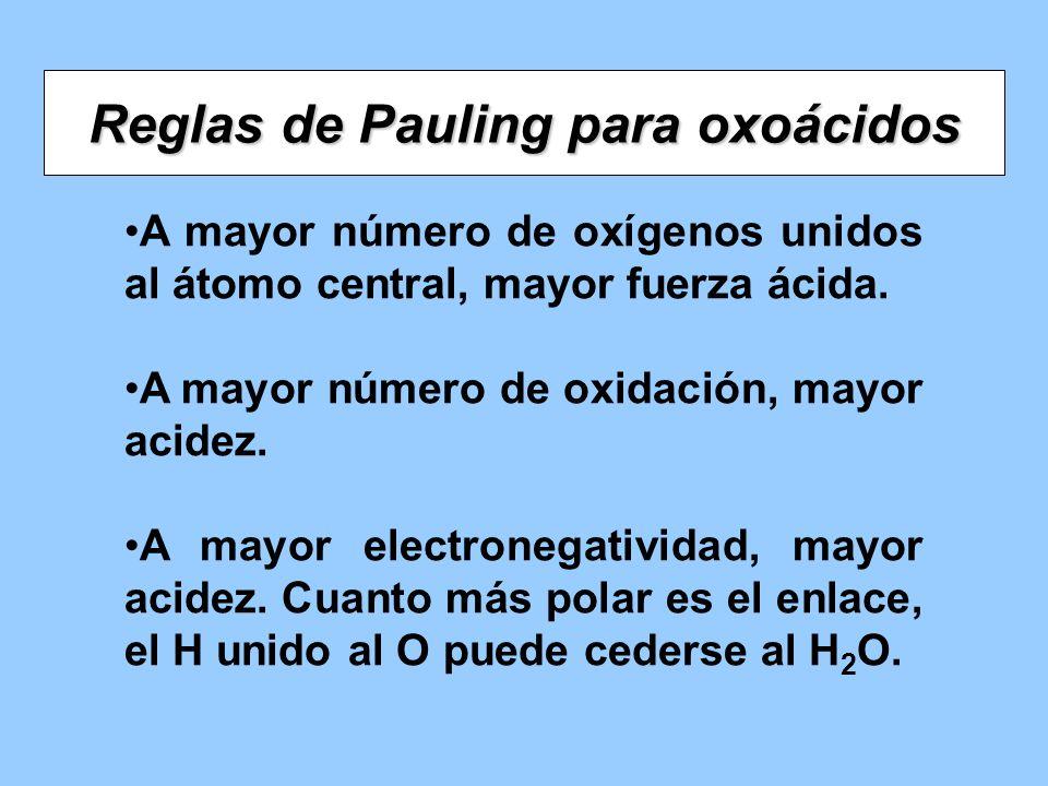 Reglas de Pauling para oxoácidos A mayor número de oxígenos unidos al átomo central, mayor fuerza ácida. A mayor número de oxidación, mayor acidez. A