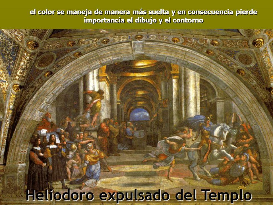el color se maneja de manera más suelta y en consecuencia pierde importancia el dibujo y el contorno Heliodoro expulsado del Templo