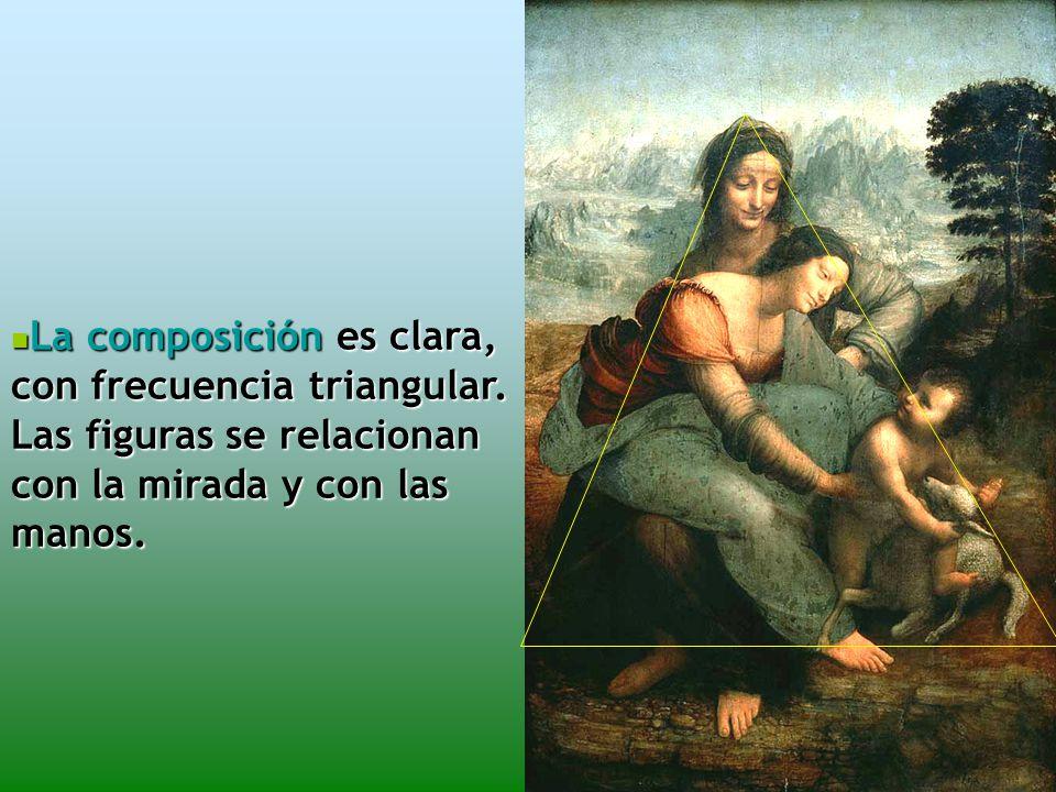 La composición es clara, con frecuencia triangular.
