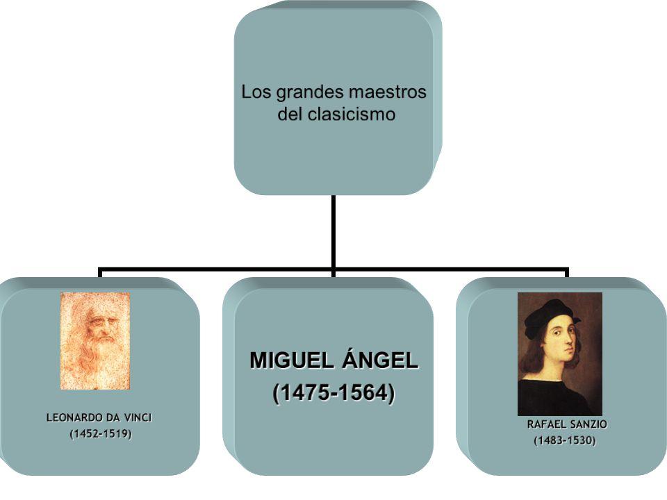 Los grandes maestros del clasicismo LEONARDO DA VINCI (1452-1519) MIGUEL ÁNGEL (1475-1564) RAFAEL SANZIO (1483-1530) (1483-1530)