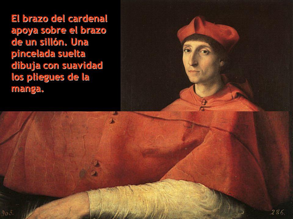 El brazo del cardenal apoya sobre el brazo de un sillón. Una pincelada suelta dibuja con suavidad los pliegues de la manga.