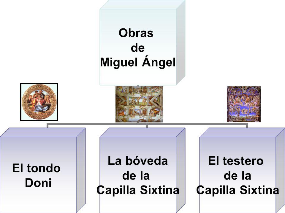 Obras de Miguel Ángel El tondo Doni La bóveda de la Capilla Sixtina El testero de la Capilla Sixtina
