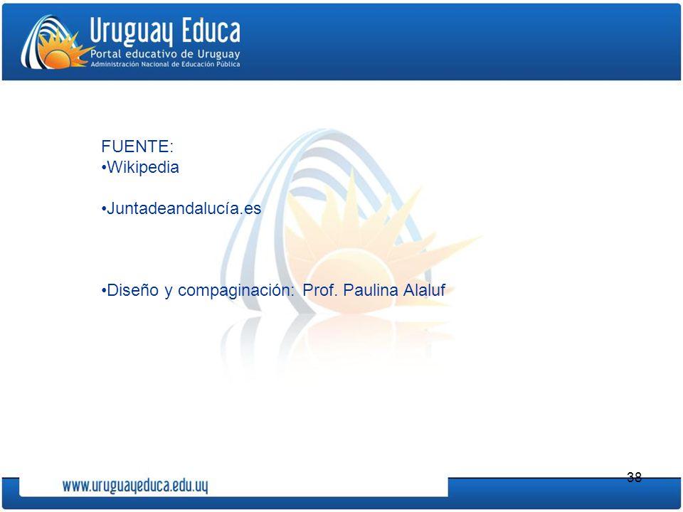 38 FUENTE: Wikipedia Juntadeandalucía.es Diseño y compaginación: Prof. Paulina Alaluf