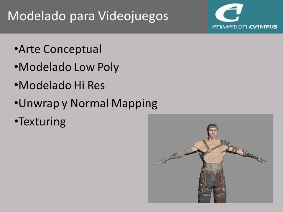 Modelado para Videojuegos Arte Conceptual Modelado Low Poly Modelado Hi Res Unwrap y Normal Mapping Texturing