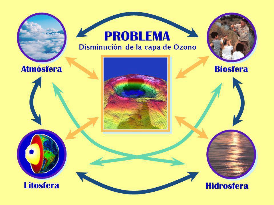 Atmósfera PROBLEMA Biosfera Litosfera Hidrosfera Disminución de la capa de Ozono