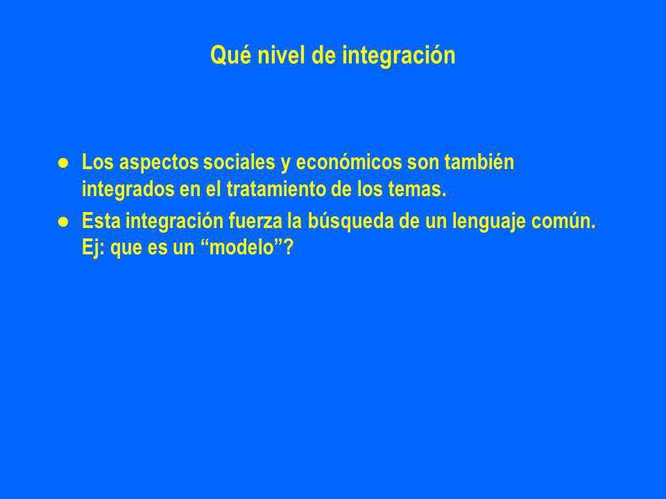 Qué nivel de integración l l Los aspectos sociales y económicos son también integrados en el tratamiento de los temas.