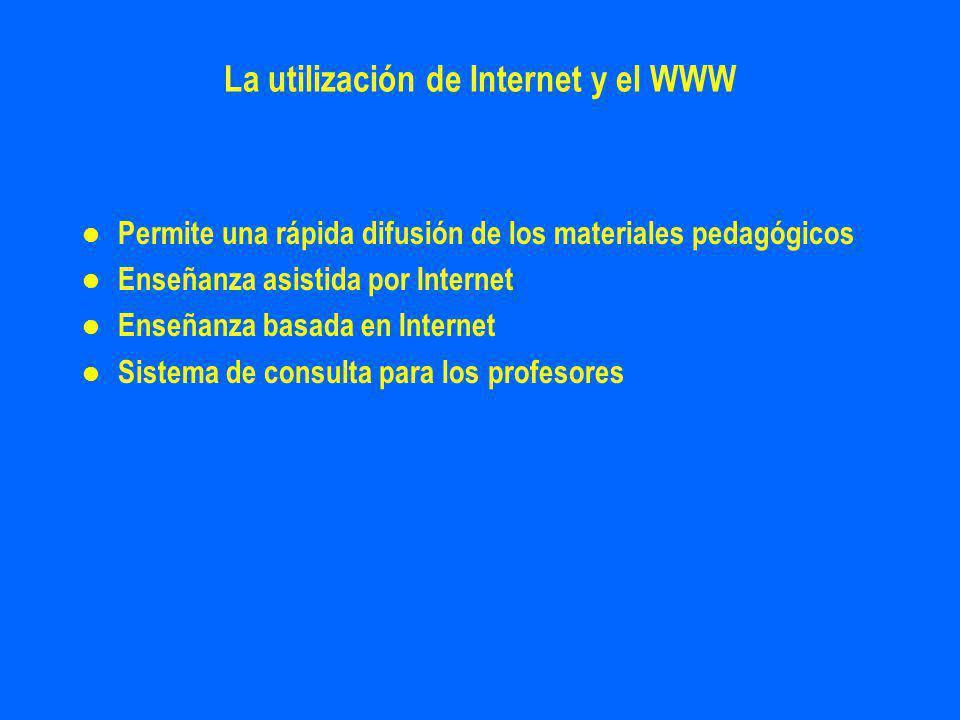 La utilización de Internet y el WWW l l Permite una rápida difusión de los materiales pedagógicos l l Enseñanza asistida por Internet l l Enseñanza basada en Internet l l Sistema de consulta para los profesores