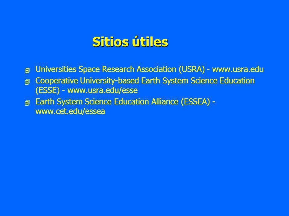 Sitios útiles 4 4 Universities Space Research Association (USRA) - www.usra.edu 4 4 Cooperative University-based Earth System Science Education (ESSE) - www.usra.edu/esse 4 4 Earth System Science Education Alliance (ESSEA) - www.cet.edu/essea