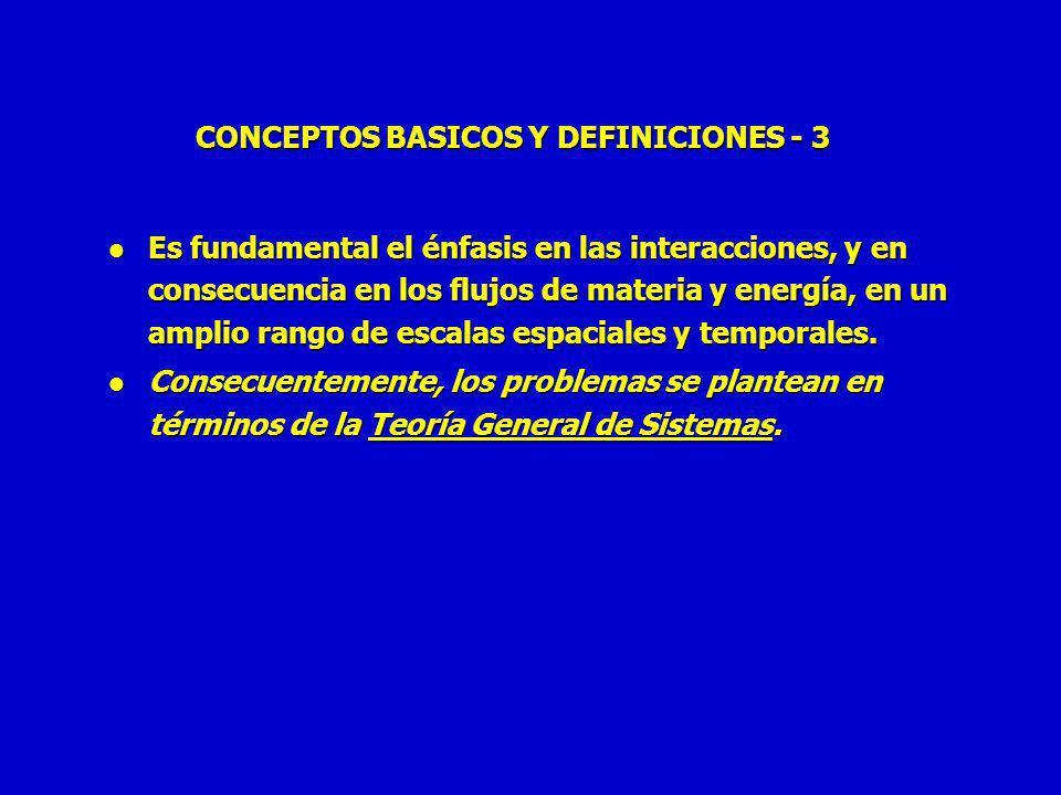 CONCEPTOS BASICOS Y DEFINICIONES - 3 l Es fundamental el énfasis en las interacciones, y en consecuencia en los flujos de materia y energía, en un amplio rango de escalas espaciales y temporales.