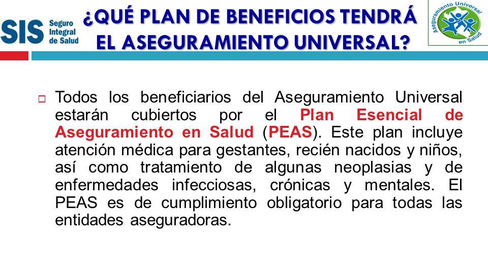 Todos los beneficiarios del Aseguramiento Universal estarán cubiertos por el Plan Esencial de Aseguramiento en Salud (PEAS).